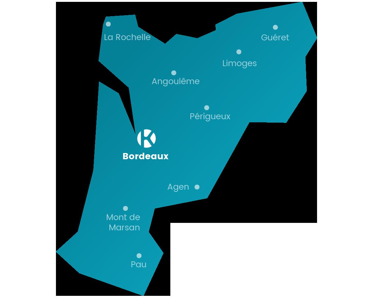 Carte du réseau Keemia Bordeaux en région Aquitaine - Keemia Bordeaux Agence marketing local en région Aquitaine