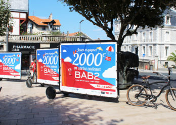 BAB2 centre commercial - Bike'Com affichage mobile - Keemia Bordeaux agence de marketing Local en région Aquitaine
