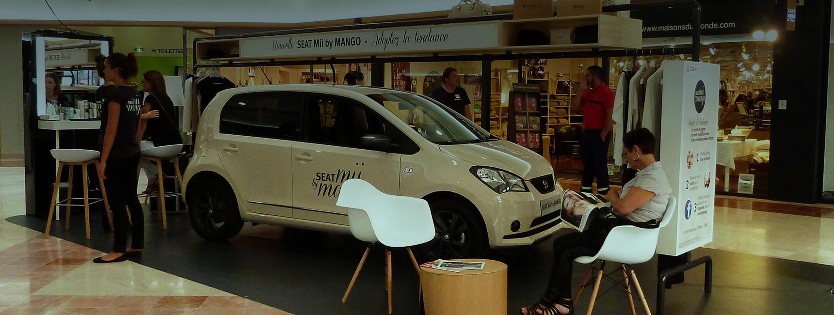 L'espace éphémère SEAT Mii by Mango en centre commercial - Keemia Event et Expérience Agence événementielle et roadshow