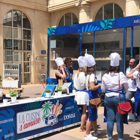 Dispositif événementiel cuisine mobile Ixina animation grand public cours de cuisine escape game smoothie - Keemia Event & Expérience - Agence d'activation événementielle et expérience de marque
