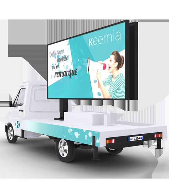 Camion Affich'led, l'affichage mobile digital - Keemia Lyon Agence marketing local en région Rhône-Alpes