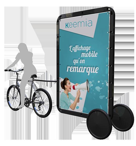 Bike'Com : Affichage publicitaire mobile, le velo publicitaire - Keemia Lyon Agence marketing local en région Rhône-Alpes