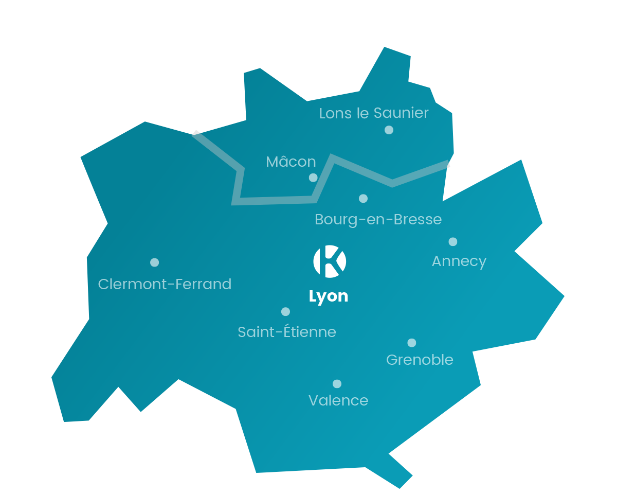 Carte Keemia Lyon, l'opérateur full marketing - Keemia Lyon Agence marketing local en région Rhône-Alpes
