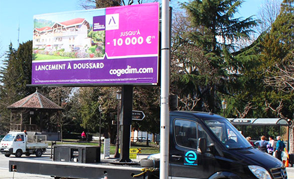 Cogedim Affichage mobile digital Keemia Lyon Agence marketing local en région Rhônes Alpes