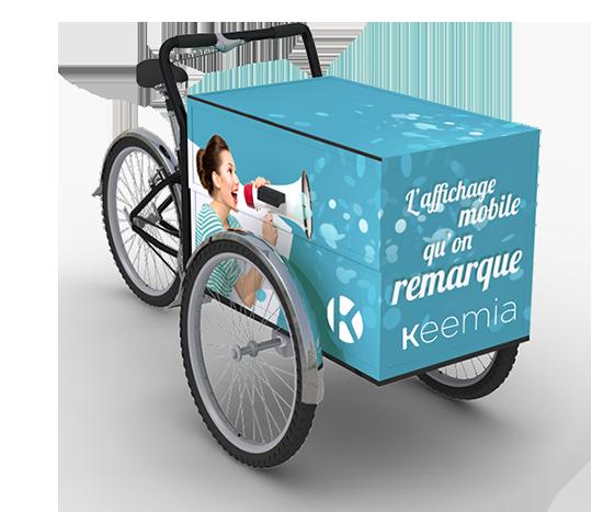Triporteur - Affichage mobile - Keemia Lyon Agence marketing local en région Rhône-Alpes
