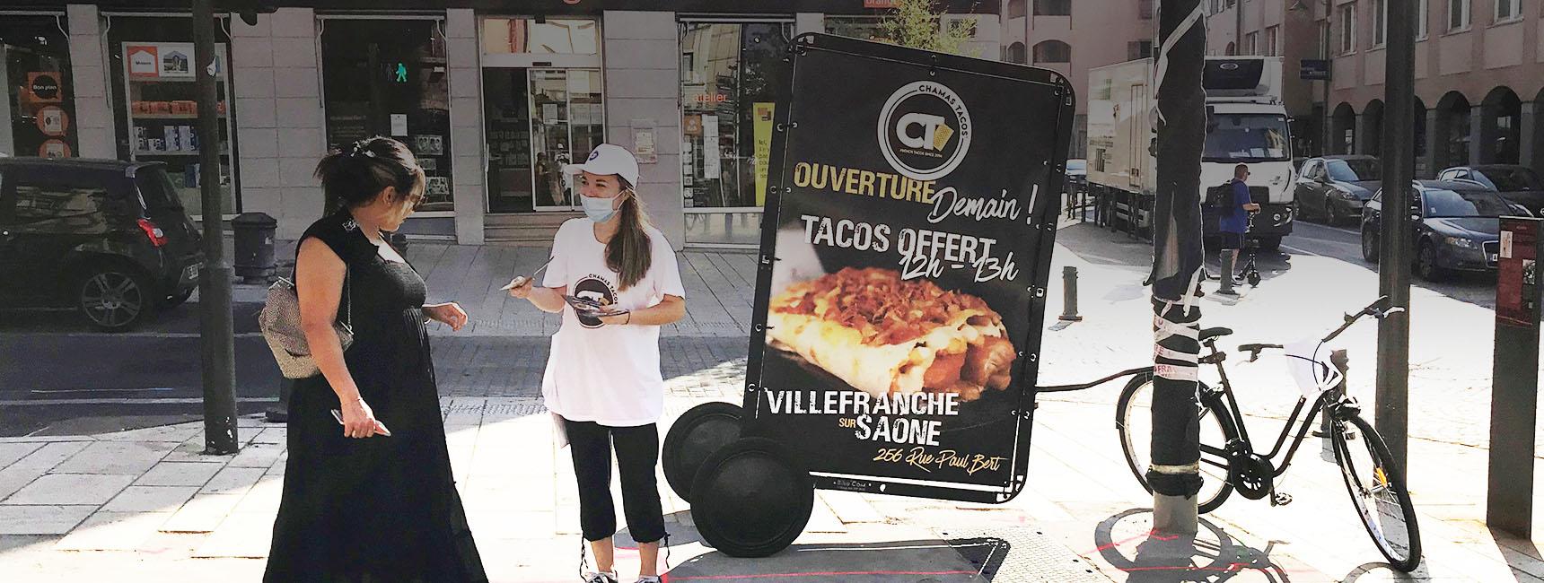 affichage mobile bike'com - keemia lyon agence marketing locale en région Rhône alpes