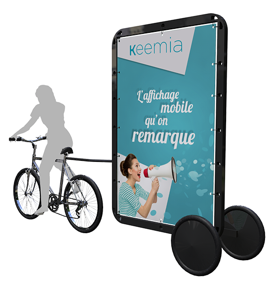Bike'Com : Affichage publicitaire mobile, le velo publicitaire - Keemia Nantes Agence marketing local en région Atlantique