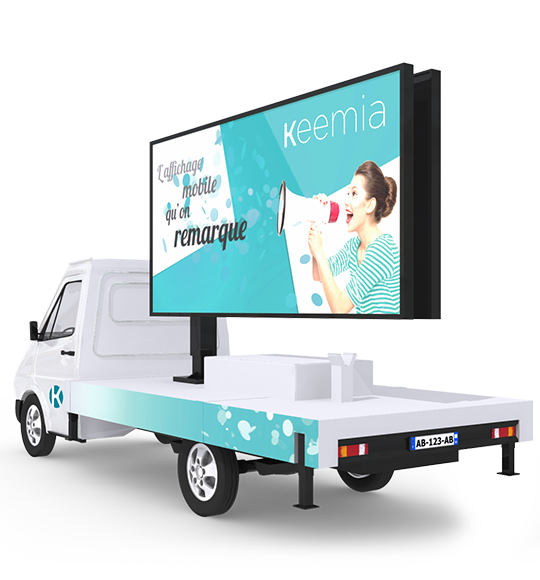 Camion Affich'led, l'affichage mobile digital - Keemia Paris Agence marketing local en région Île-de-France