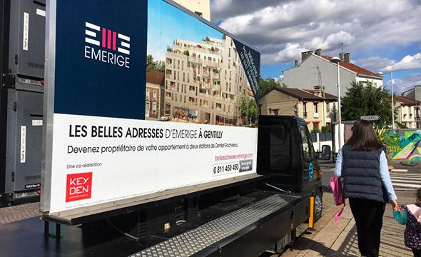 Emerige affichage mobile Keemia agence marketing local Paris