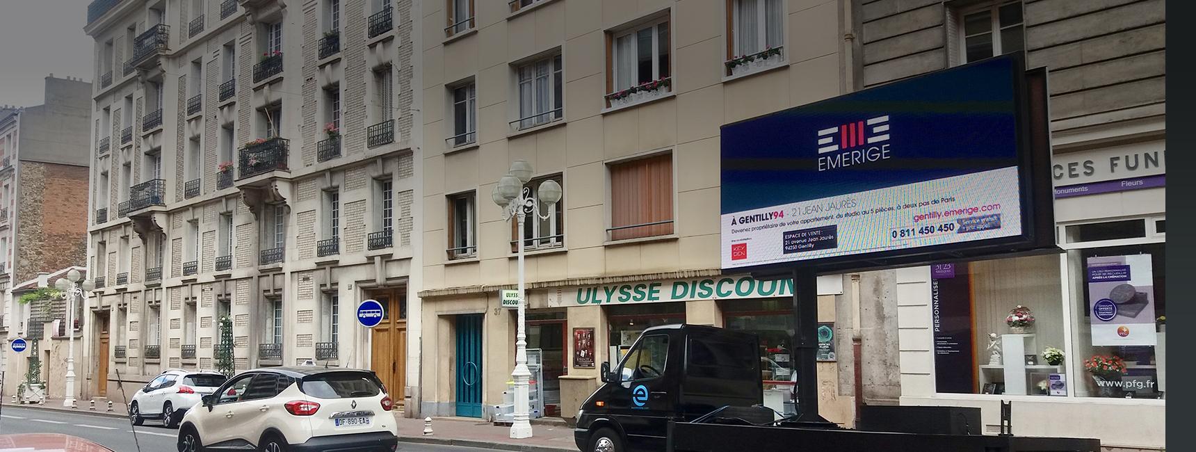 Emerige - affichage mobile - Keemia agence marketing local Paris