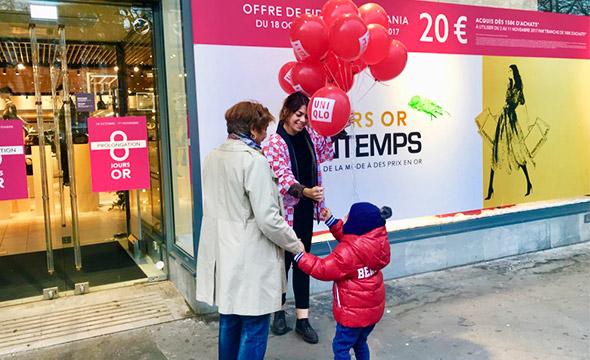 Uniqlo street marketing Keemia agence marketing local Paris