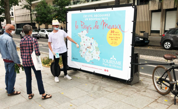 Affichage mobile en Bike'Com® Office du Tourisme du Pays de Meaux - keemia Paris agence de Marketing Locale en région Ile de France