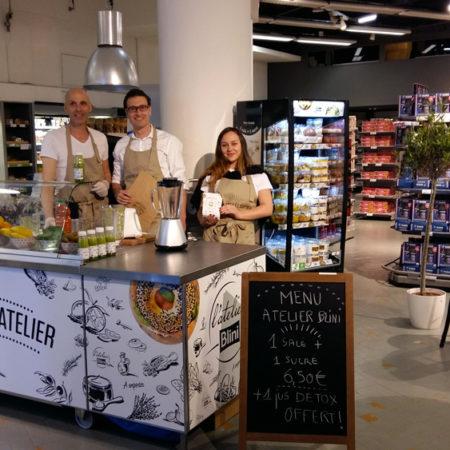 Un atelier Blini chez Monoprix - Keemia Shopper Marketing Experientiel
