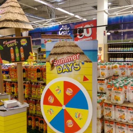 Espace degustation instore des nouveaux produits de Lipton et Lay's à l'occasion des Summer Days avec Pepsico - Keemia Shopper Marketing Expérientiel