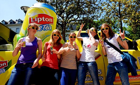 Des pick-ups expérientiels brandés aux couleurs de Lipton - Keemia Shopper Marketing - Agence d'activation shopper marketing phygitale