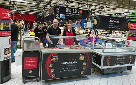 La cuisine mobile d'ajinomoto pour le lancement de leur produit japonais - Keemia Shopper Marketing - Agence d'activation shopper marketing phygitale