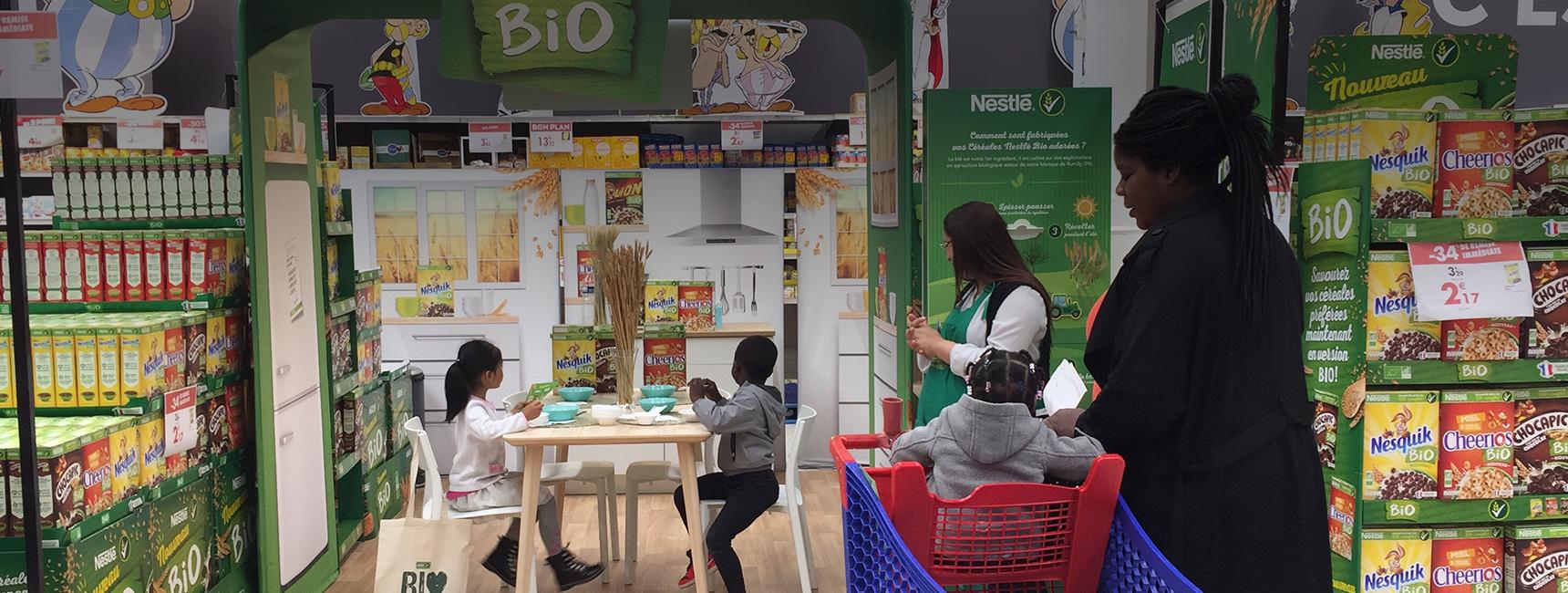 Animation ludo educative pour la nouvelle version bio des cereals Nestle - Keemia Shopper Marketing - Agence d'activation shopper marketing phygitale