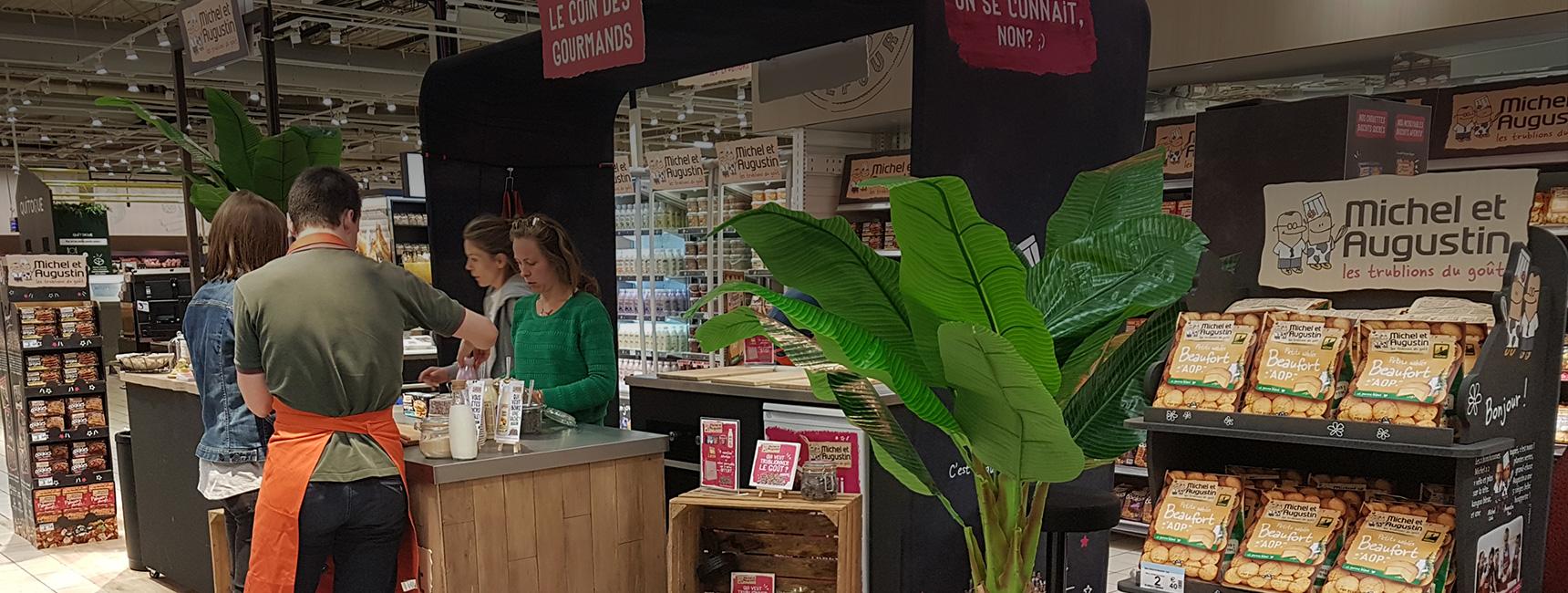 Michel et Augustin : animation Instore de dégustation et atelier culinaire - Keemia Shopper Marketing - Agence d'activation shopper marketing phygitale