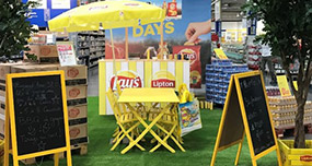 Espace degustation instore à l'occasion des Summer Days avec Pepsico - Keemia Shopper Marketing - Agence d'activation shopper marketing phygitale