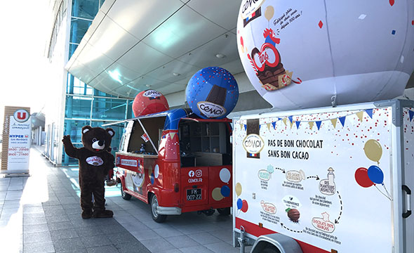 dispositif visibilite et augmentation des ventes chocotruck pour les 100 de la marque cemoi Keemia Shopper Marketing Agence d'activation shopper marketing phygitale