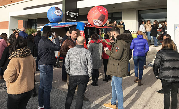dispositif visibilite et augmentation des ventes chocotruck pour les 100 de la marque cemoi - Keemia Shopper Marketing Agence d'activation shopper marketing phygitale