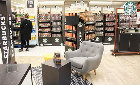Opération visibilité mis en place par Keemia : Dégustation instore pour Starbucks et Nestle - Keemia Shopper Marketing - Agence d'activation shopper marketing phygitale