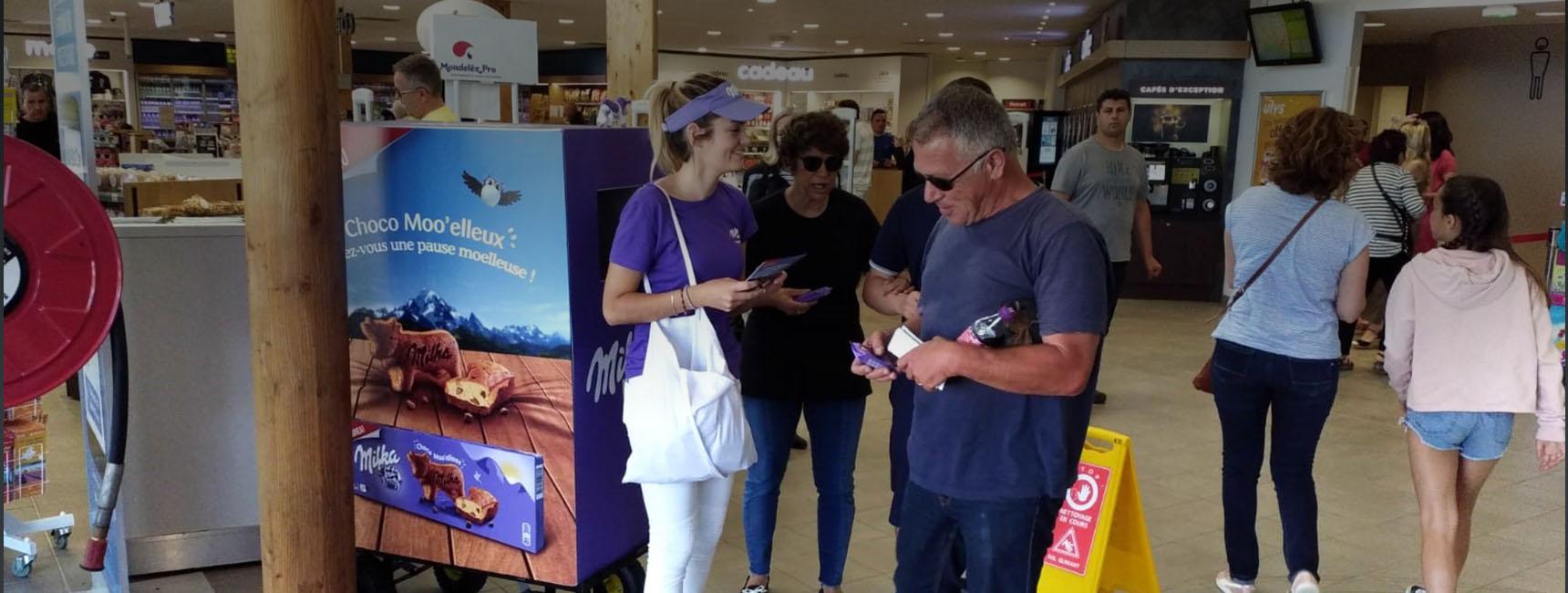 Milka Brand Activation animation outstore street marketing - Keemia shopper agence d'activation shopper marketing phygitale