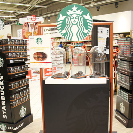 Dispositif de dégustation instore pour Starbucks - Keemia Shopper Marketing - Agence d'activation shopper marketing phygitale