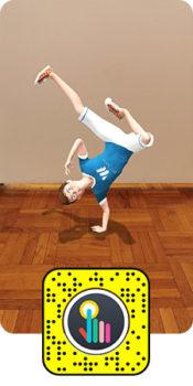 Mascotte ou produit en 3D, Experience immersive en réalité augmentée Snapchat - Keemia Shopper Marketing Agence d'activation shopper marketing phygitale