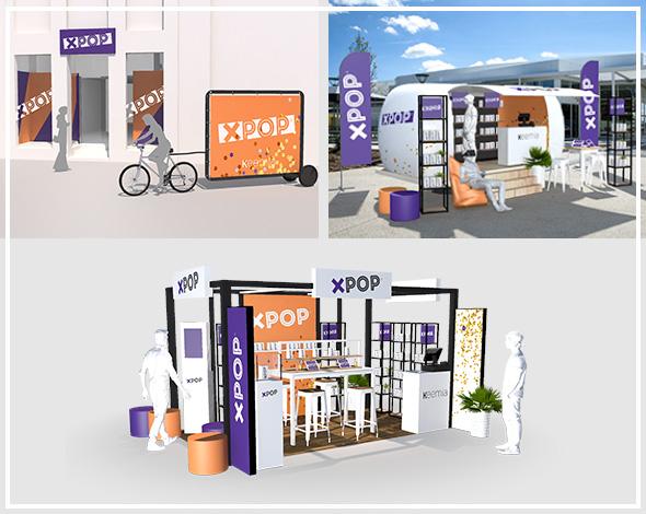 Roughs dispositifs pop up stores xpop - Keemia Shopper Marketing Agence d'activation shopper marketing phygitale
