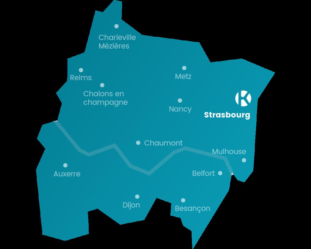 Carte du réseau de Keemia Strasbourg en région Grand-Est - Keemia Strasbourg Agence marketing local en région Grand-Est