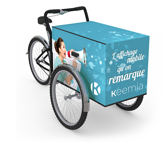 Triporteur - Affichage mobile - Keemia Strasbourg Agence marketing local en région Grand-Est