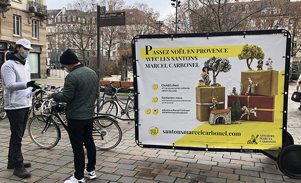 Bike'Com affichage mobile les santons - Keemia Strasbourg agence marketing local en région Grand Est
