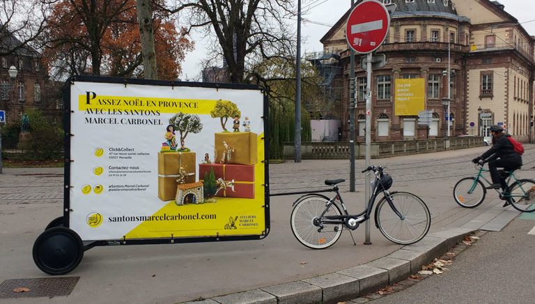Bike'Com affichage mobile les santons - Keemia Strasbourg agence marketing local en région Grand Est