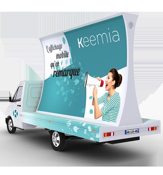 Affich'Mobile, camion publicitaire concave - Keemia Toulouse Agence marketing local en région Occitanie
