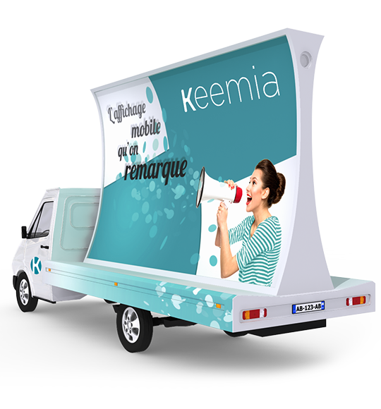 Affich'Mobile, camion publicitaire concave - Keemia Tours Agence marketing local en région Centre Normandie