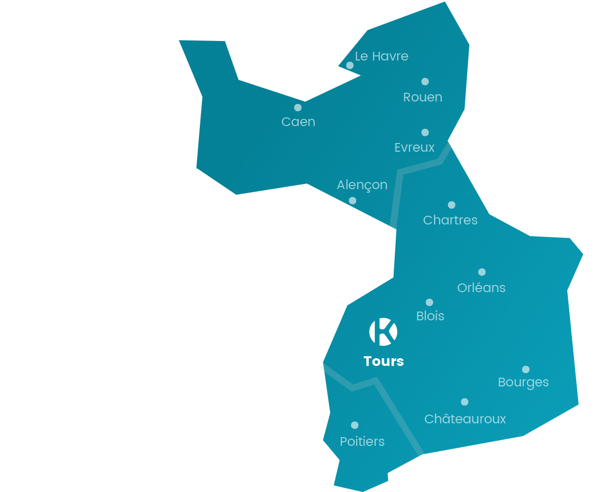 Carte du réseau de Keemia Tours en région Centre Loire et Normandie - Keemia Tours Agence marketing local en région Centre Normandie