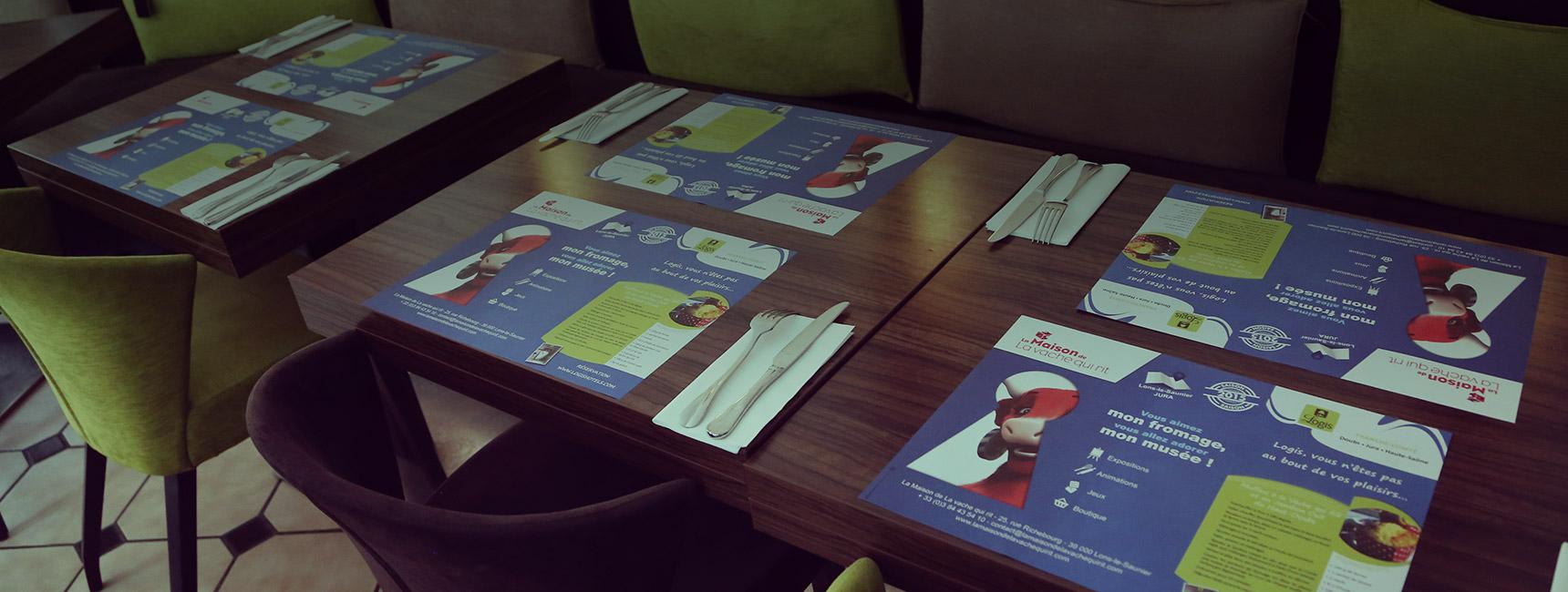 Set de table publicitaire, support tactique - Média tactique - Keemia Tours Agence marketing local en région Centre Normandie
