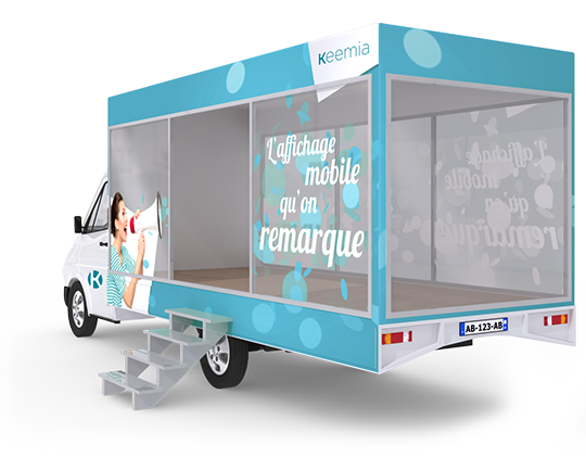 Camion Showroom mobile - Affichage mobile - Keemia Tours Agence marketing local en région Centre Normandie
