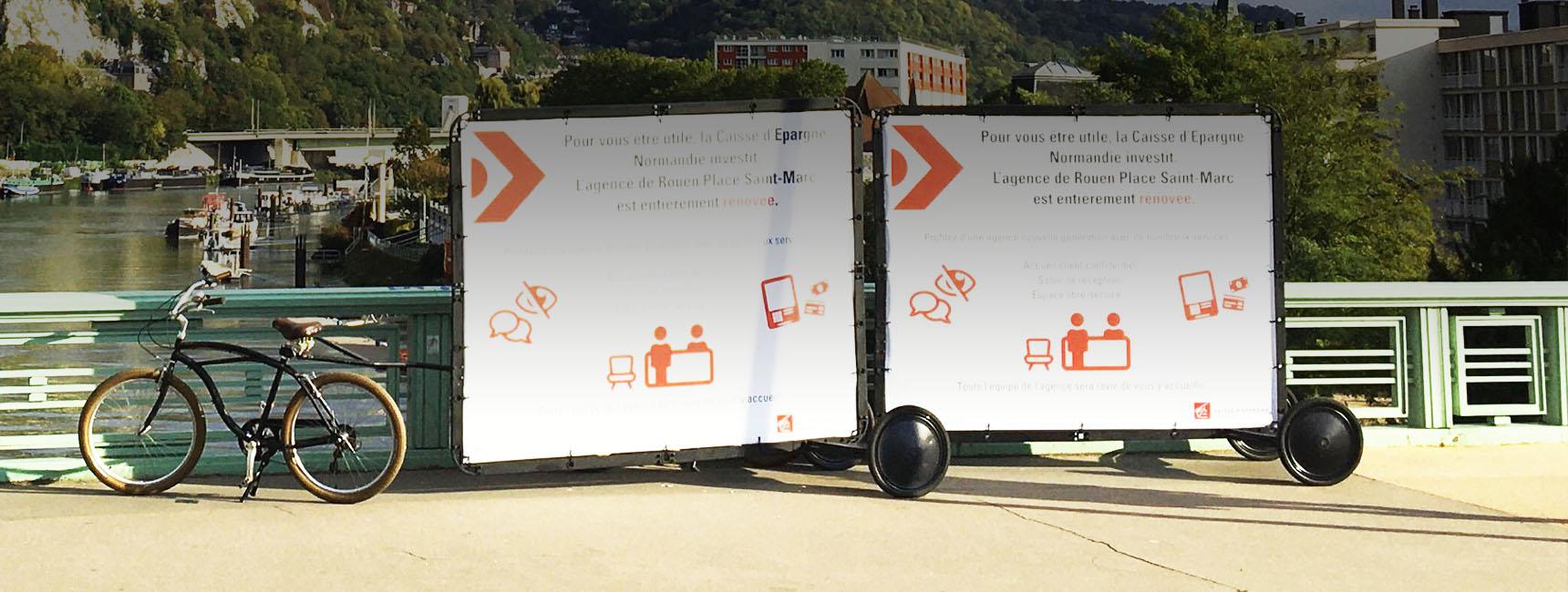 affichage mobile - sac a pain- Keemia Tours agence de marketing locale en région Centre Normandie